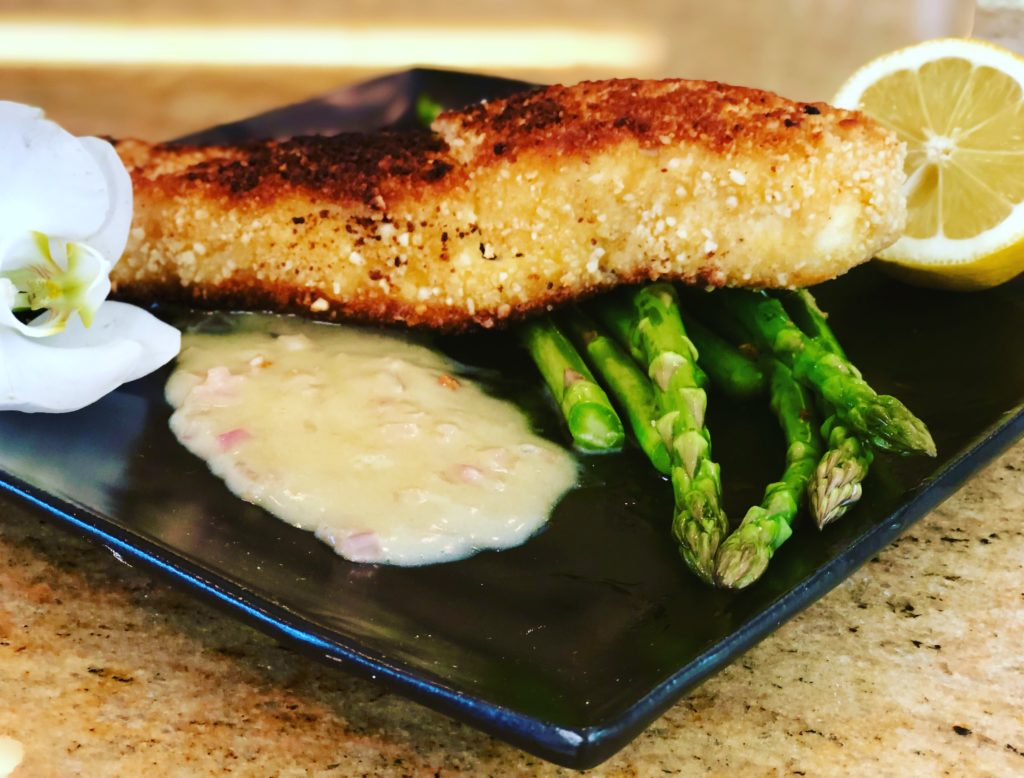 Macadamia Nut Crusted Halibut with Pineapple Beurre Blanc Sauce
