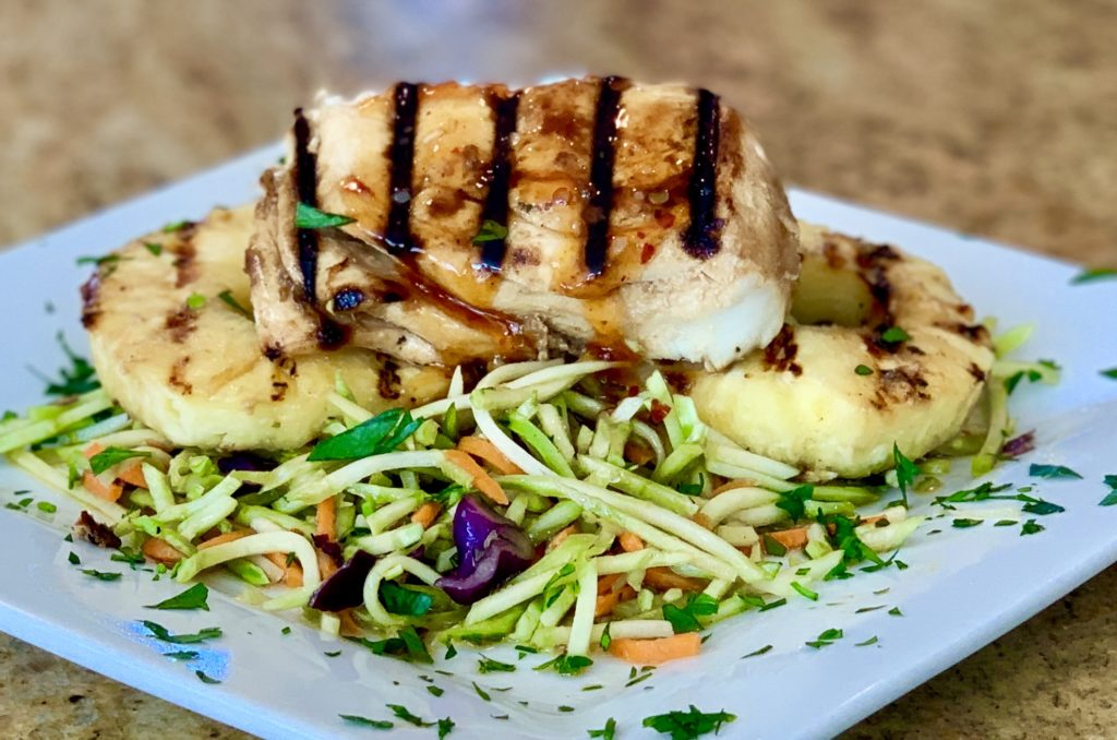 Grilled Halibut with Pineapple Soy Ginger Marinade