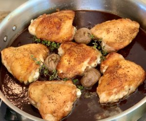 Chicken Thighs with Port Fig Reduction Sauce