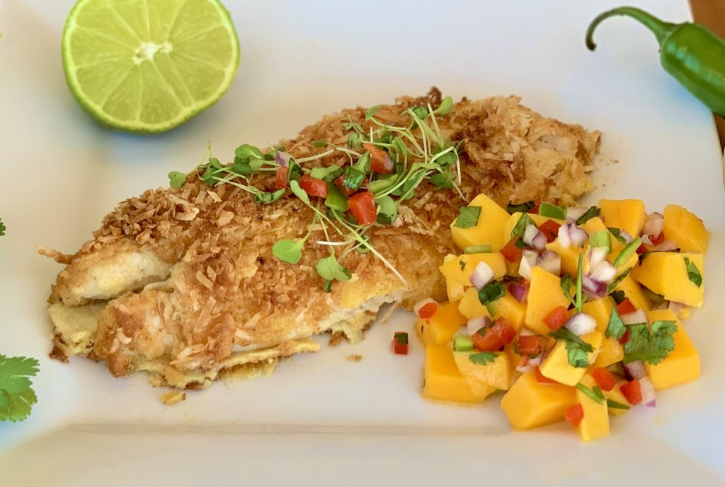 Coconut Crusted Orange Roughy with Mango Salsa