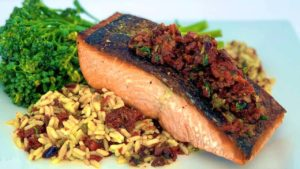 Crispy Skin Salmon with Sun-Dried Tomato Tapenade