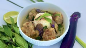 Thai Green Curry Pork and Shrimp Meatballs