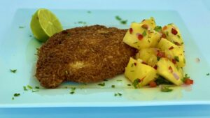 Gluten-Free Crispy Coconut Chicken with Pineapple Salsa