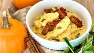 Pumpkin Goat Cheese Polish Kluski with Bacon Lardons