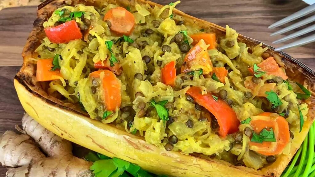 Vegan Lentil Curry Spaghetti Squash