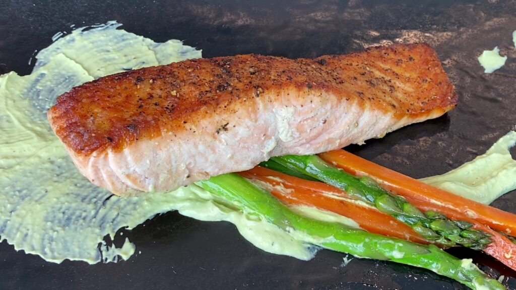 Salmon with Avocado Horseradish Cream Sauce