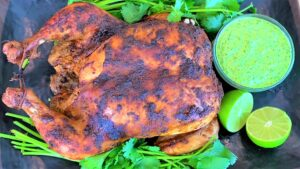 Peruvian Roast Chicken with Green Sauce