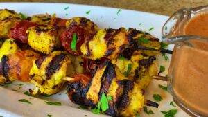Grilled Curry Chicken Skewers with Creamy Tomato Sauce