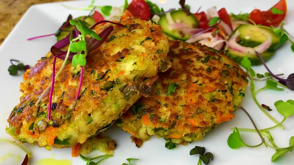 Halloumi Veggie and Herb Cakes with Easy Refrigerator Pickles